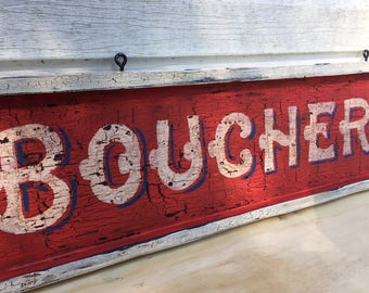 Boucherie Sign, French Butcher Sign, Handpainted Sign, Kitchen Sign, Butcher Sign