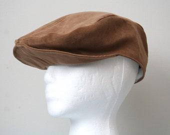 Fabric Newsboys Cap, Light Brown; Ivy Cap, Mens Hat, Gentlemen Cap, Golf Cap, Driving Cap, Flat Cap, Fabric Newsboys Hat, Handmade Mens Hat