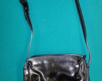 Black Leather Francesco Biasia Shoulder Strap Purse Pocketbook Bag