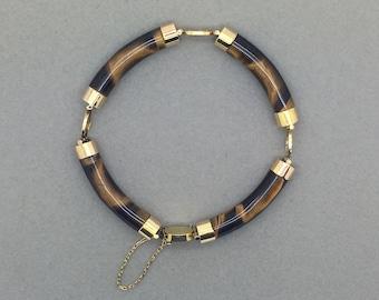 Vintage 10k Gold Tiger Eye Chinese Good Fortune Link Bracelet, Good Luck Bracelet, Tiger's eye bracelet, Retro