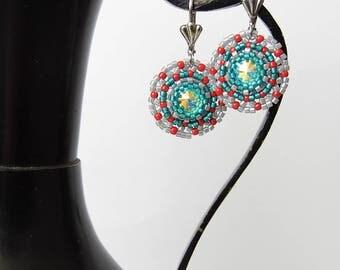 Swarovski beaded crystal earrings, seed bead earrings, Swarovski Rivoli Crystal AB earrings, beadwork, handmade earrings, gift for her