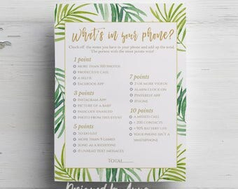 Botanical baby shower what's in your phone game printable baby shower game instant download tropical printable party green leaves whats in