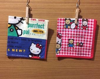 Sanrio Hello Kitty 1989 Vintage child's handkerchief Made in Japan Set of 2