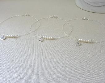 Pearl bracelet, Initial bracelet, Monogram bridesmaid bracelet, Personalized bracelet, Custom Wedding jewelry, Gold fill, Sterling silver