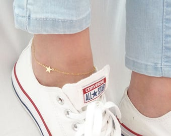Star anklet, Gold star Anklet, Foot Jewelry, Beach wedding jewelry, Bridesmaid gifts, Silver star Anklet Bracelet, Summer Jewelry