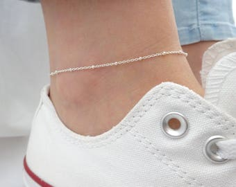 Delicate satellite chain anklet, Gold, Silver, Rose gold anklet, Everyday anklet, Beach jewelry, Bridesmaid gifts, simple wedding jewelry