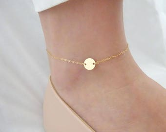 Personalized disc anklet, Initial anklet, Hand Stamped jewelry, Bridesmaid Personalized gift, Best friend gift, Gold, Silver , Rose gold