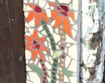 Orange Flower Mosaic, Garden Art, Original Mosaic Art