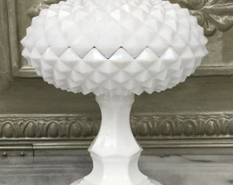 Milk Glass Covered Dish / Candy Dish / Sawtooth  Covered Pedestal Dish / Vintage Milk Glass Covered Compote