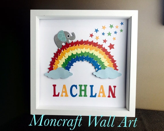 Personalised name Nursery Boy wall decor , boys room framed decor, rainbow stars & elephant boys room wall art , nursery artwork boys,