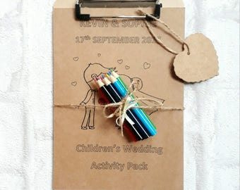 Childrens wedding party activity pack colouring clipboard