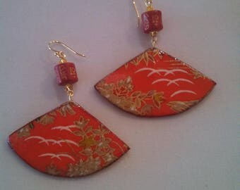 Asian inspired paper earrings,  Washi/Origami paper, red cinnabar Tibetan beads with gold carved symbols,  Swarovski beads, dangle earrings
