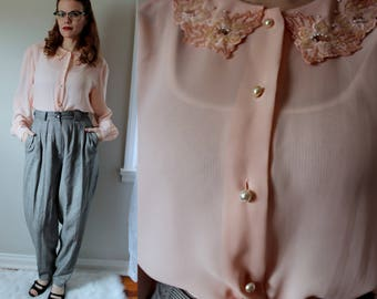 Vintage At First Blush Blouse // 1950's Inspired Secretary Style button Down Semi Sheer Peachy Pink Blouse with Pearl Buttons & Fancy Collar