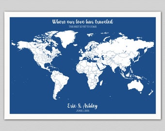 Push Pin World Map, Push Pin Map, Push Pin Art, Personalized Travel Gifts for Men, Anniversary Gift for Girlfriend, Gift for Husband, Custom