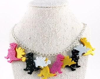 Dinosaur necklace, dinosaur jewelry, best statement necklace, dinosaur party, t-rex necklace, laser cut necklace, animal jewelry
