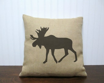 Burlap Moose Pillow Cover. Moose Silhouette. Burlap Pillow Cover. Grain Sack Pillow. Antler Pillow. Zipper enclosure. Rustic home decor