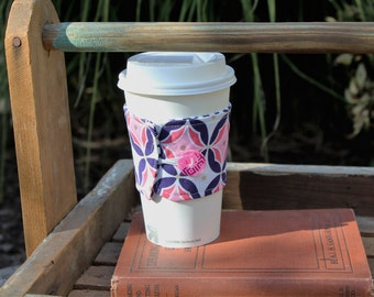 Reusable Coffee Cup Sleeve, Coffee Cup Cozy, Coffee Cup Sleeve, Navy Blue and Pink Coffee Cup Cozy, Ready to Ship