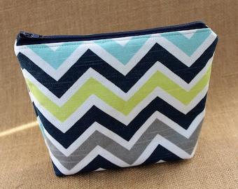 Blue/Gray Chevron Duck Canvas Zipper Pouch, Blue/Gray Chevron Zipper Pouch, Zipper Pouch, Coin Purse, Cosmetic Bag