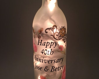 Happy Couple Personalized Wine Bottle Light