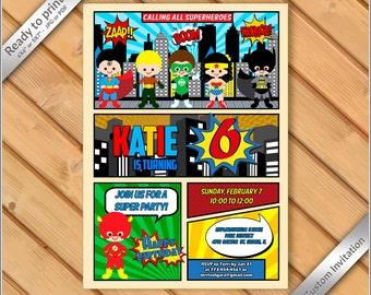 50% OFF SALE - Superheroes Birthday Invite, Comic Pages Party Invitation printable, comic superheroes Justice invitation printable