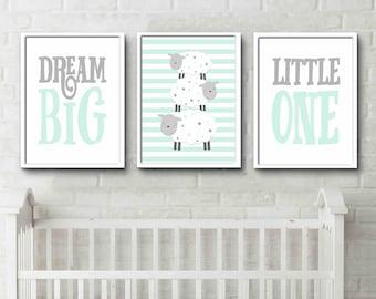 Light green Grey Nursery Print Dream Big Little One Sheep Prints sheep design night time prints gender neutral nursery art