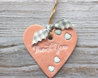 THANK YOU Terracotta Handmade Air Dry Clay Heart with blue/ green heart Detail - Can be Used as a Gift Tag, Small Wall or Door Hanging