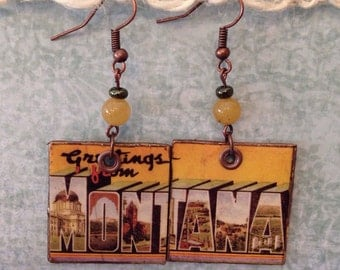 Up-cycled Montana State Postcard Earrings, decoupage earrings, cereal box earrings