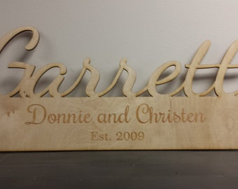 Custom last name wood cutout wedding sign personalized plaque