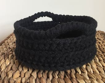 Black Basket with Handles, Round Basket with Handles, Crochet Basket with Handles, Decorative Basket with Handles, Storage Basket, Gift
