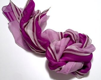 SALE! Vintage 1980's Preview Collection 100% Silk Chiffon Sheer Purple Striped Rectangular Scarf