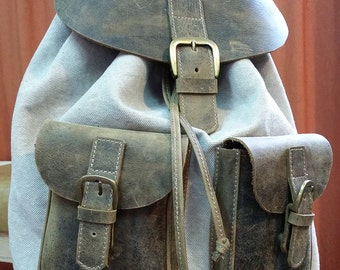 Handmade linen backpack Linen and Leather backpack by KalaArt