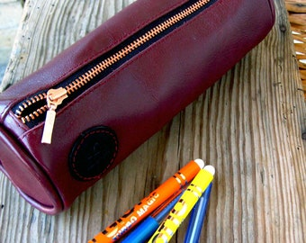 Leather case leather pencil case RedLeather roll leather pencil pouch Leather cosmetic bag