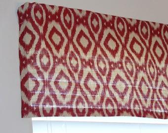 Burlap Red Cream Colored Valance Curtain W Geometric Designs 15 X