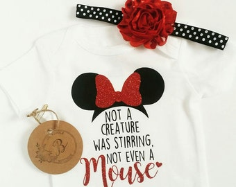 Minnie Christmas, Not a creature was stirring not even a mouse, Christmas Disney shirt, Minnie Christmas, Disney onesie, Minnie mouse