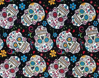 Sugar Skulls fabric,Day of the dead,Skull Fabric,Dia De Los Muertos Sugar Skulls Print Fabric