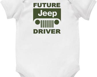 Baby Romper Suit (One piece) printed with Future Jeep Driver on cotton short sleeve romper.