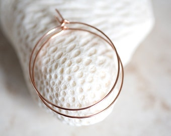Rose Gold Hoop Earrings, 14K Rose Gold Filled Hoops, Gold Hoop Earrings