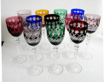 Set of twelve vintage Bohemia color cut to clear glasses with tall stems