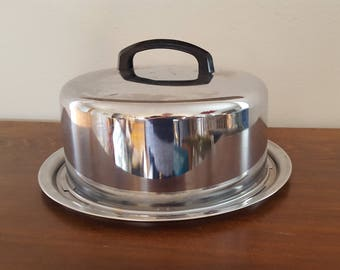 Silver Metal Cake Carrier with Slide Closure