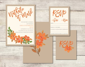 Invitation, to print wedding invitations | Invitation + RSVP card