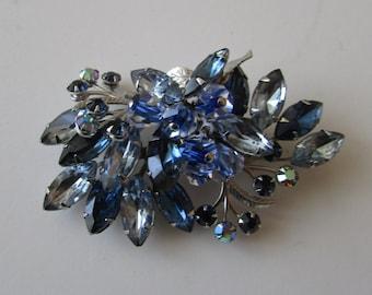 Vintage Blue Rhinestone Brooch with Crystal Blue Dangles Pin
