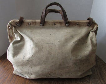 Vintage Artist Painter's Canvas Bag Shabby Paint Splatters Leather Straps & Handles