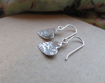 Sterling silver heart earrings, heart drop earrings, heart earrings, silver hearts, drop earrings, silver jewellery.