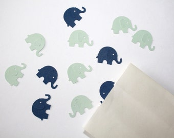 Navy and Mint Elephant Confetti. Navy and Mint. Baby Boy Shower. First Birthday. Boy Birthday Party Decor. Confetti. 80 CT.