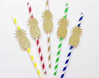 10 Gold Glitter Pineapple Paper Straws. Luau Party Decor. Summer Party. Pineapple Party Decor. Hawaiian Party. Paper Straws.