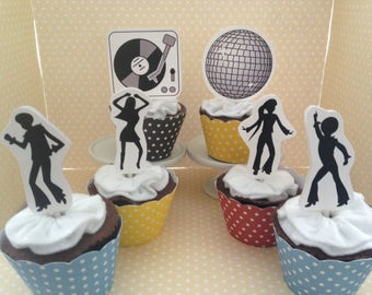70's Disco, Saturday Night Fever Party Cupcake Topper Decorations- Set of 10
