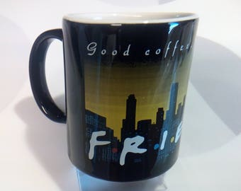 Vintage 1995 Warner Bros Friends TV Show 12 oz Coffee Mug With NY Skyline and Twin Towers