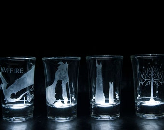 The Hobbit and Lord of the Rings shot glasses