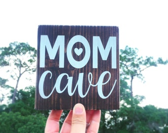 Mom Cave Sign, Rustic Mom Cave Sign, Home Decor, Gift For Mom, Hearts, Wall Decor, Wood Sign, Shelf Decor, Mantel Decor