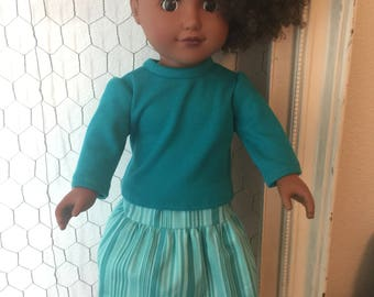 """18"""" Doll Clothes, Teal Blue Long Sleeve shirt with Matching Pattern Skirt"""